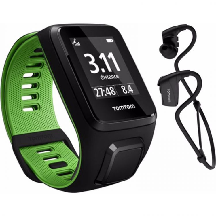 Image Tomtom Runner 3 Music + Headphones Black/green - S