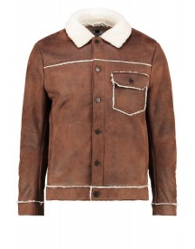 Topman Borg Imitatieleren Jas Light Brown afbeelding