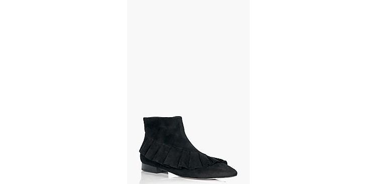 Image Amelia Frilled Pointed Ankle Boot