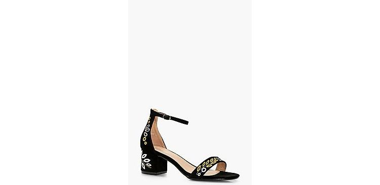 Image Annabelle Embroidered Low Block Heel 2 Parts