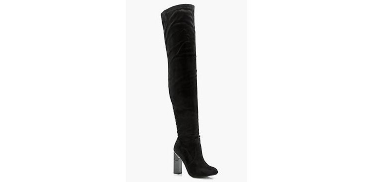 Image Bethany Block Gloss Heel Over The Knee Boot