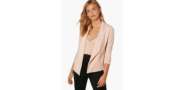 Image Brooke Ruched Sleeve Shawl Collar Blazer