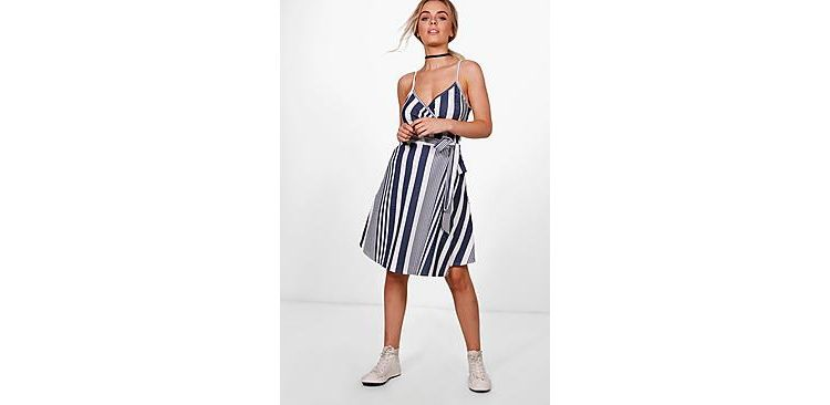 Image Freyja Stripe Textured Crepe Wrap Skater Dress