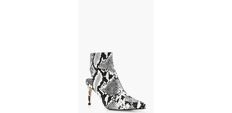 Image Maisy Snake Print Open Back Pointed Shoe Boot