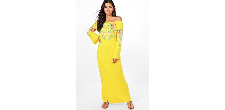 Image Mel Off The Shoulder Printed Embroidery Maxi Dress