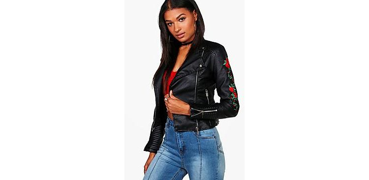 Image Mel Rose Embroidered Biker Jacket