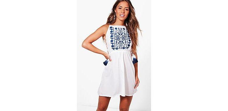 Image Petite Leah Embroidered Strappy Tassle Sundress