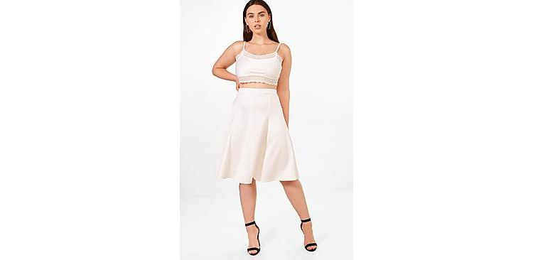 Image Plus Elsa Scuba High Waist Pleated Midi Skirt