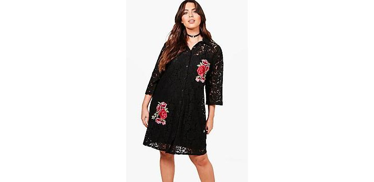 Image Plus Rosie Lace Embroidered Shirt Dress