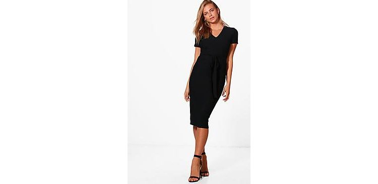 Image Sarah V-neck Tie Waist Fitted Dress