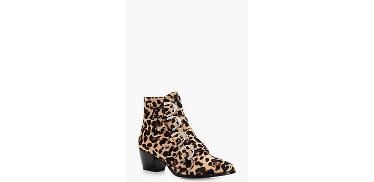 Image Tilly Leopard Stud Detail Ankle Boot