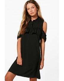 Abi Ruffle Could Shoulder Shirt Dress afbeelding