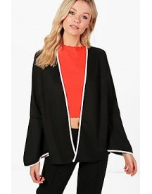 Abigail Contrast Piping Flare Sleeve Jacket afbeelding