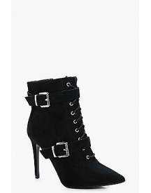 Alexis Lace Up Double Buckle Pointed Shoe Boot afbeelding