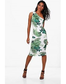 Ally Tropical Print One Shoulder Midi Dress afbeelding