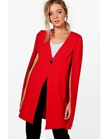 Amanda Button Longline Tailored Crepe Cape afbeelding
