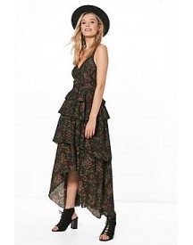 Amy Ruffle Tiered Paisley Maxi Dress afbeelding