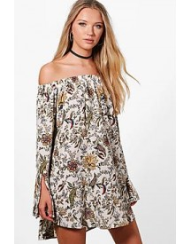 Annabel Off The Shoulder Paisley Flute Sleeve Shift Dress afbeelding