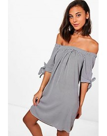 Aria Stripe Off The Shoulder Shift Dress afbeelding