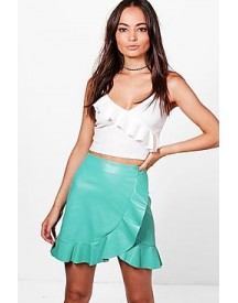Arlo Ruffle Hem Wrap Front Leather Look Skirt afbeelding