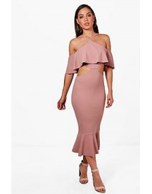 Ash Strappy Frill Detail Cut Out Midi Dress afbeelding