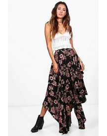 Aura Floral Print High Low Hem Maxi Skirt afbeelding