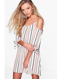 Bekki Stripe Cold Shoulder Shift Dress afbeelding