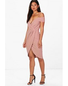 Bella Wrap Cold Shoulder Midi Dress afbeelding