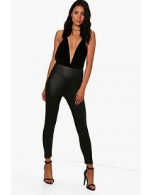 Bethan Cropped High Waist Wet Look Leggings afbeelding