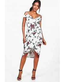 Bethany Open Shoulder Floral Wrap Midi Dress afbeelding