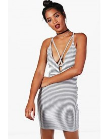 Bethany Stripe Strappy Bodycon Dress afbeelding
