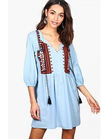 Boutique Ella Embroidered Aztec Smock Dress afbeelding
