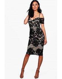 Boutique Gabriella Lace Panelled Cold Shoulder Midi Dress afbeelding