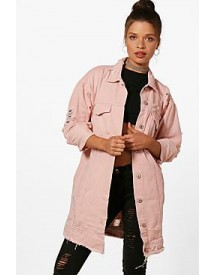 Casey Nude Longline Distressed Denim Jacket afbeelding