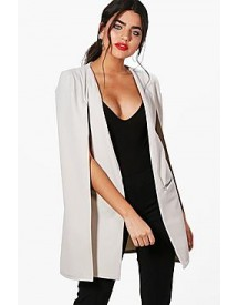 Charlotte Zip Detail Longline Tailored Crepe Cape afbeelding