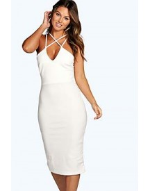 Clara Strappy Detail Bodycon Midi Dress afbeelding