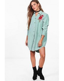 Dina Embroidered Baby Cord Distressed Edge Shirt Dress afbeelding