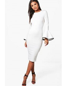 Ella Contrast Flared Sleeve Midi Dress afbeelding