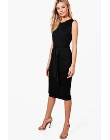 Ella Sleeveless Tie Waist Fitted Dress afbeelding
