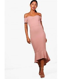 Elsie Off The Shoulder Frill Hem Midi Dress afbeelding