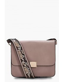 Emily Snake Strap Detail Cross Body Bag afbeelding