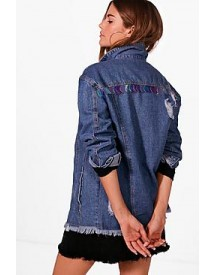Emma Mermaid Sequin Oversize Denim Jacket afbeelding