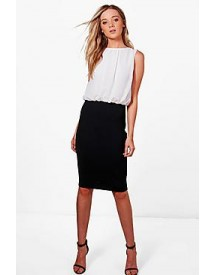Erin Contrast Chiffon Top Dress afbeelding