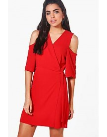 Esme Cold Shoulder Woven Wrap Dress afbeelding