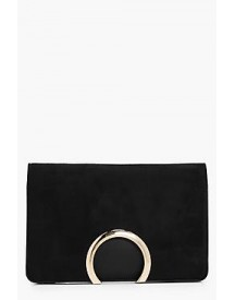 Faye Metal Circle Suedette And Pu Mix Clutch afbeelding