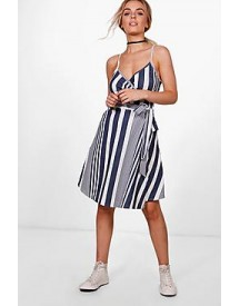 Freyja Stripe Textured Crepe Wrap Skater Dress afbeelding
