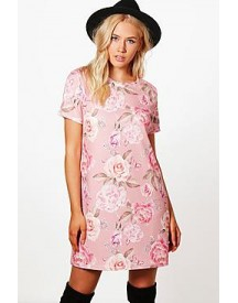 Georgia Floral Printed Cap Sleeve Shift Dress afbeelding