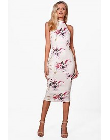Georgina High Neck Racer Floral Midi Dress afbeelding