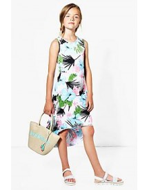 Girls Drop Hem Printed Dress afbeelding