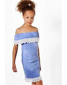 Girls Lace Trim Bardot Chambray Dress afbeelding